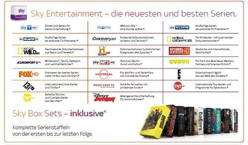 Sky Entertainment Sender Übersicht