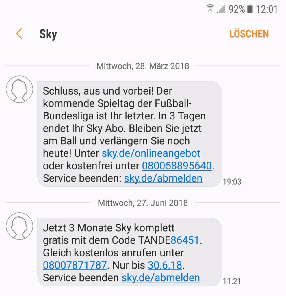 Sky Rückholangebot per SMS