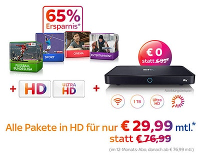 Bestes Sky Angebot für 29,99 Euro
