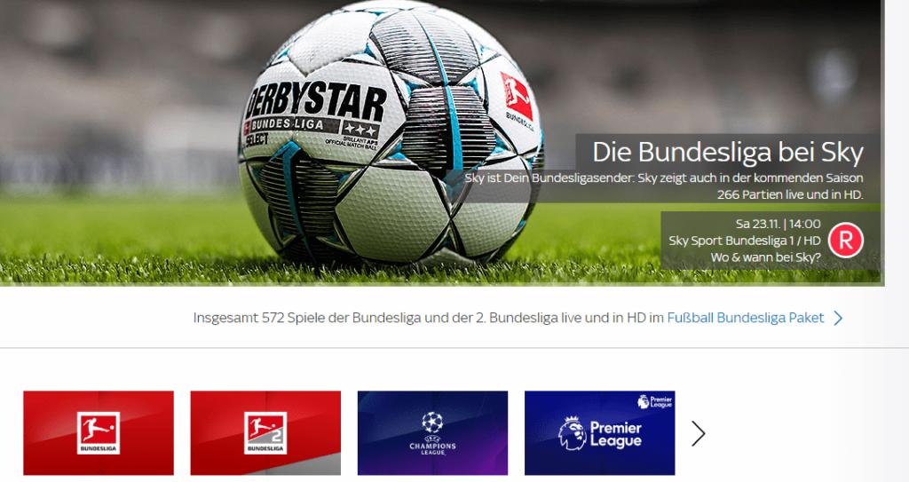 Fußball Bundesliga bei Sky