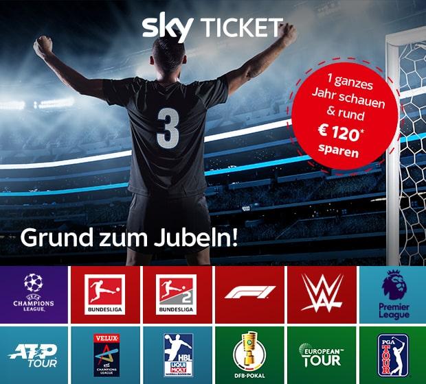 Sky Ticket Angebot für Bestandskunden: 1 Jahr streamen - 120 € sparen