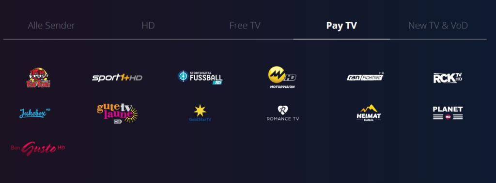 Waipu.tv: Pay-TV Sender in der Übersicht
