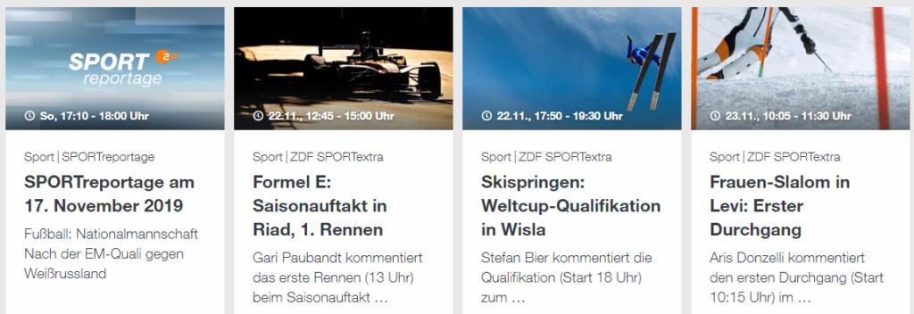 ZDF Live-Sport Programm in der ZDF Mediathek