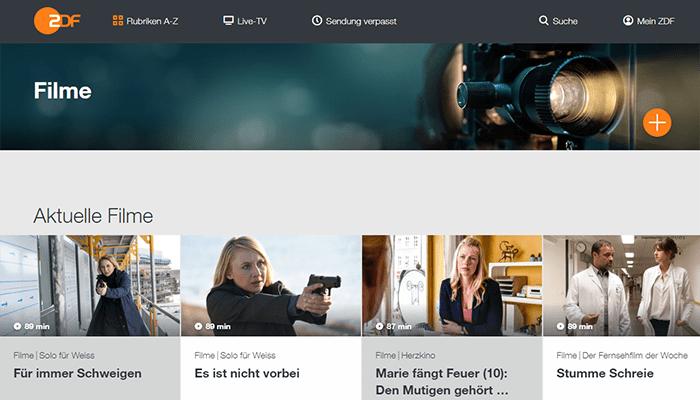 ZDF Mediathek für Filme und Serien